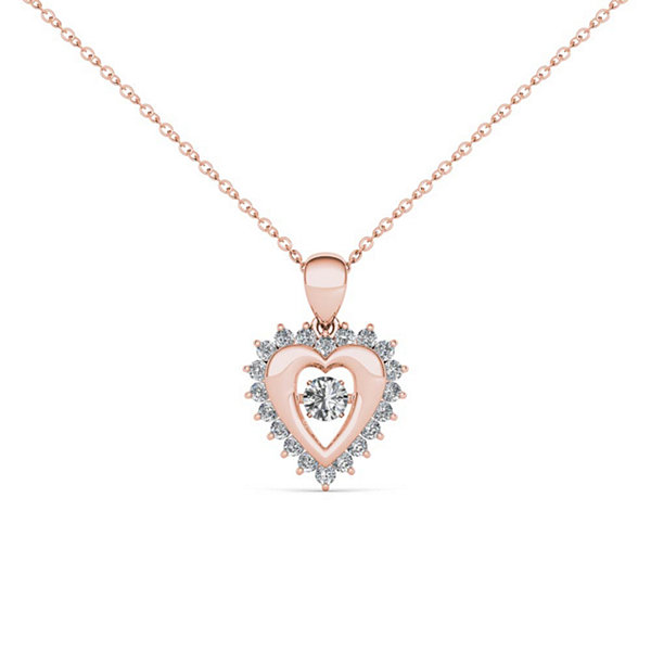 Love in Motion 1/4 CT. T.W. White Diamond Round 10K Gold Pendant