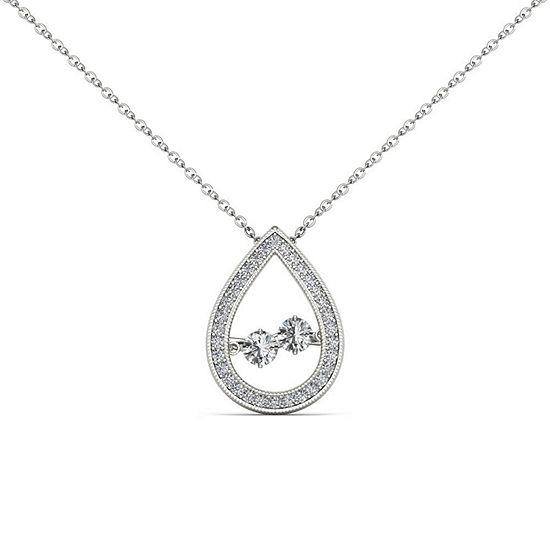 Love in Motion Womens 1/3 CT. T.W. Genuine White Diamond 10K Gold Pendant