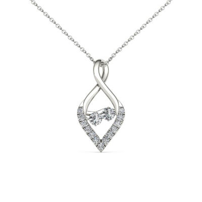 Love in Motion Womens 1/3 CT. T.W. Genuine White Diamond 10K Gold Pendant