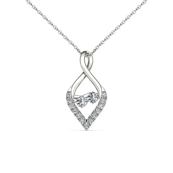 Love In Motion Womens 1 3 Ct Tw Genuine White Diamond 10k Gold Pendant