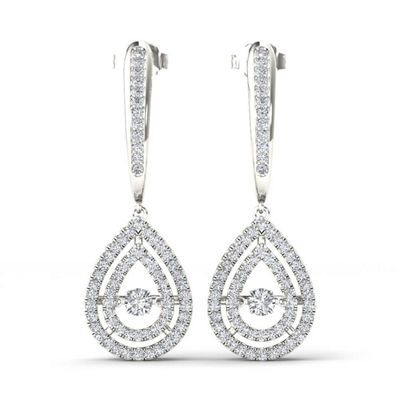 1/2 CT. T.W. Genuine White Diamond 10K Gold Drop Earrings