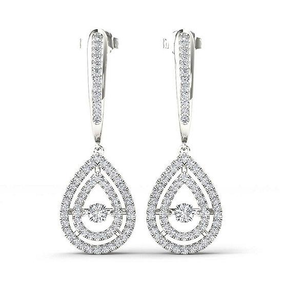 1/2 CT. T.W. Genuine White Diamond 10K Gold Drop Earrings