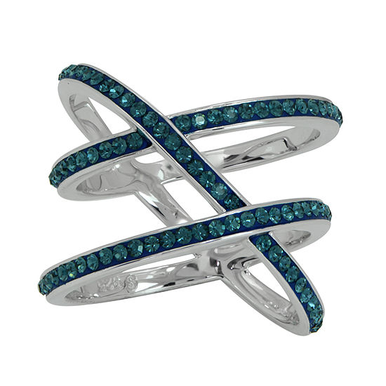 Womens Lab Created Blue Crystal Sterling Silver Cocktail Ring