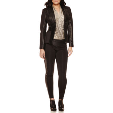 jcpenney.com | Bisou Bisou® Long Sleeve Seamed Jacket, Surplice Sleeveless Bodysuit & Solid Ponte Piped Leggings