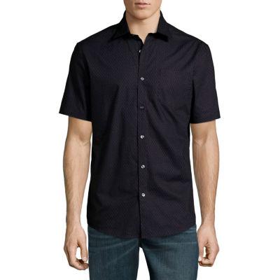 Claiborne Short Sleeve Geometric Button-Front Shirt