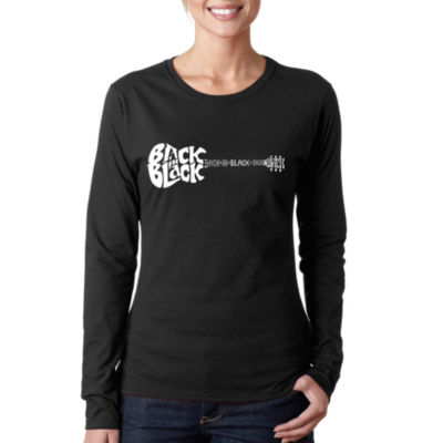Los Angeles Pop Art Women's Long Sleeve Word Art T-Shirt -Back in Black