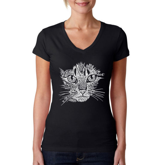 Los Angeles Pop Art Women's V-Neck T-Shirt - Cat Face