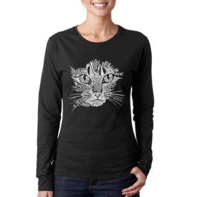 Los Angeles Pop Art Women's Long Sleeve Word Art T-Shirt -Cat Face