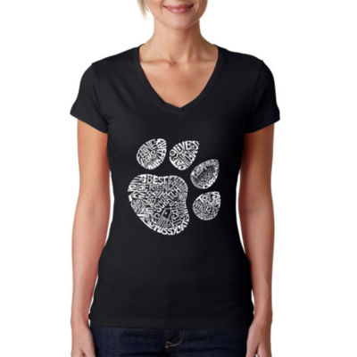 Los Angeles Pop Art Women's V-Neck T-Shirt - Cat Paw