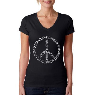 Los Angeles Pop Art Women's V-Neck T-Shirt - Different Faiths peace sign
