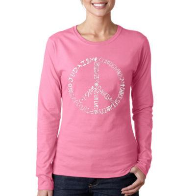 Los Angeles Pop Art Women's Long Sleeve Word Art T-Shirt -Different Faiths Peace Sign