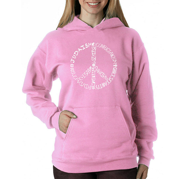 Los Angeles Pop Art Women's Hooded Sweatshirt -Different Faiths peace sign