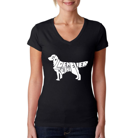 Los Angeles Pop Art Women's V-Neck T-Shirt - Golden Retreiver