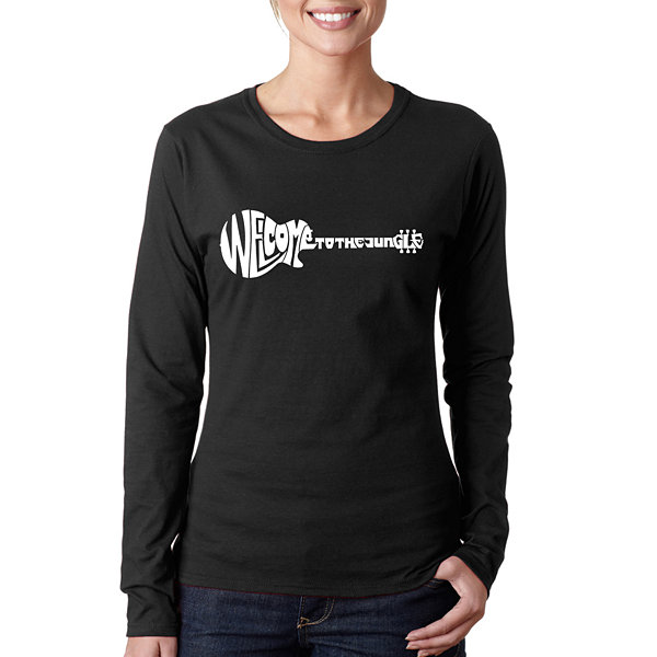 Los Angeles Pop Art Women's Long Sleeve Word Art T-Shirt -Welcome to the Jungle
