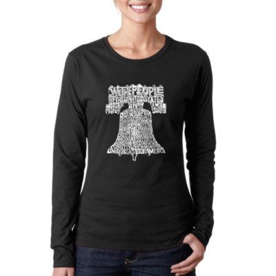 Los Angeles Pop Art Women's Long Sleeve Word Art T-Shirt -Liberty Bell