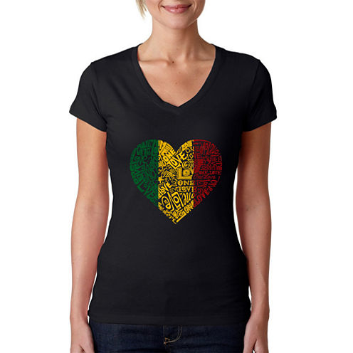 Los Angeles Pop Art Women's V-Neck T-Shirt - One Love Heart