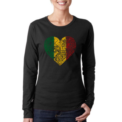 Los Angeles Pop Art Women's Long Sleeve Word Art T-Shirt -One Love Heart