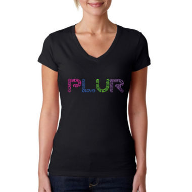 Los Angeles Pop Art Women's V-Neck T-Shirt - PLUR