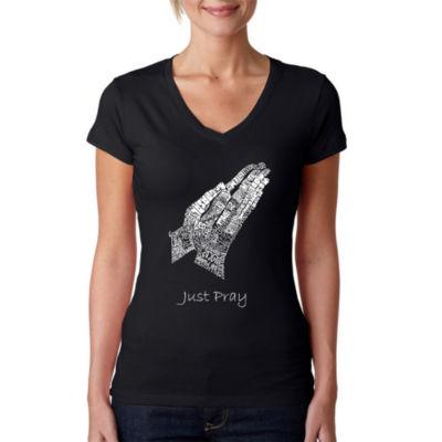 Los Angeles Pop Art Women's V-Neck T-Shirt - Prayer Hands