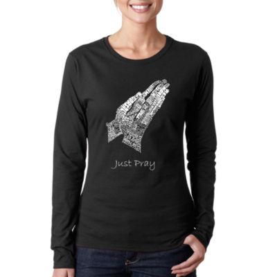 Los Angeles Pop Art Women's Long Sleeve Word Art T-Shirt -Prayer Hands
