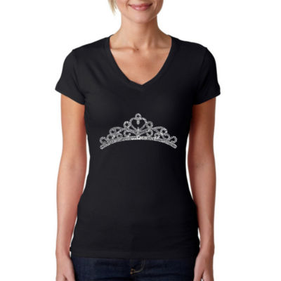 Los Angeles Pop Art Women's V-Neck T-Shirt - Princess Tiara