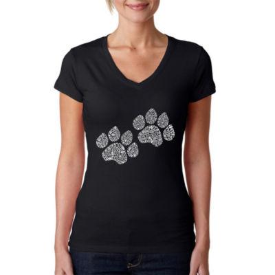 Los Angeles Pop Art Women's V-Neck T-Shirt - WoofPaw Prints