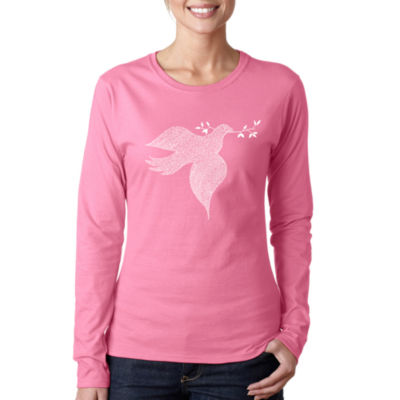 Los Angeles Pop Art Women's Long Sleeve Word Art T-Shirt -Dove