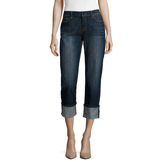 Liz Claiborne Womens Mid Rise Straight Leg Jean
