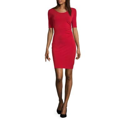 Worthington Short Sleeve Side Rouched Dress - Tall