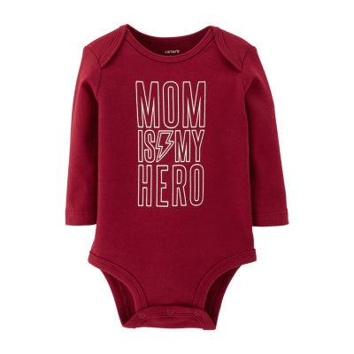 Carter's Slogan Long Sleeve Bodysuits - Baby Boy Nb-24m