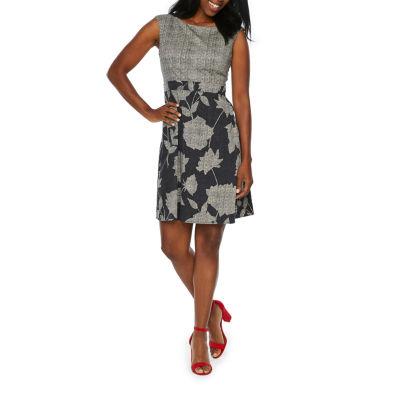 London Times Sleeveless Fit & Flare Dress