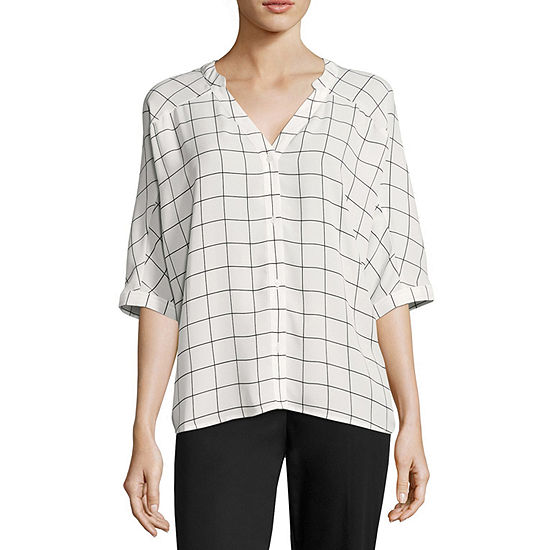 Worthington 3 4 Sleeve Boxy Dolman Shirt Tall