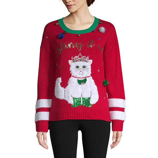 Blizzard Bay Ugly Christmas Sweater Womens Crew Neck Long Sleeve