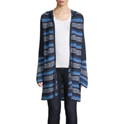 St. John's Bay Womens Long Sleeve Open Front Stripe Cardigan
