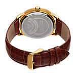 August Steiner Mens Brown Leather Strap Watch-As-8209ygbr