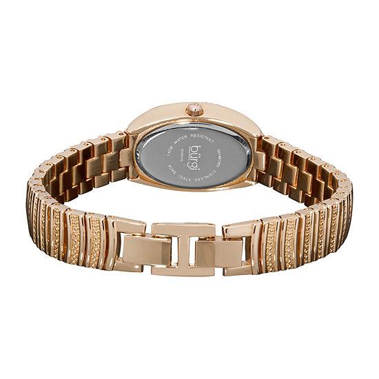 Burgi Womens Rose Goldtone Strap Watch-B-070rg