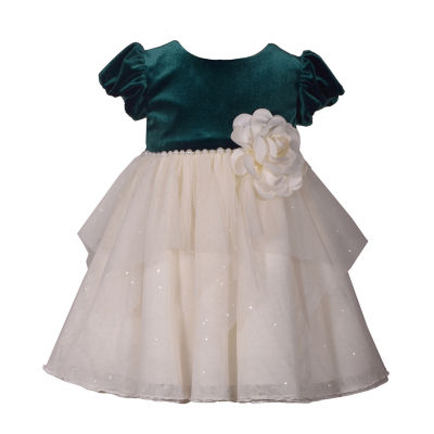 Bonnie Jean Short Sleeve Velvet Green A-Line Dress - Baby Girls