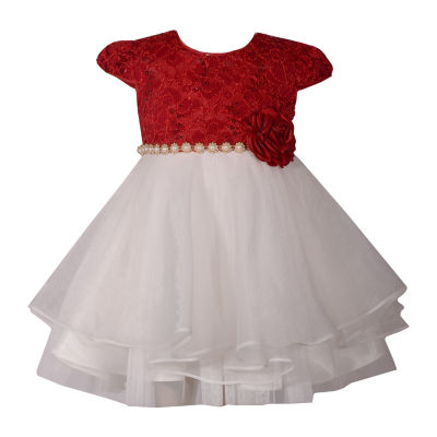 Bonnie Jean Short Sleeve Lace A-Line Dress - Baby Girls