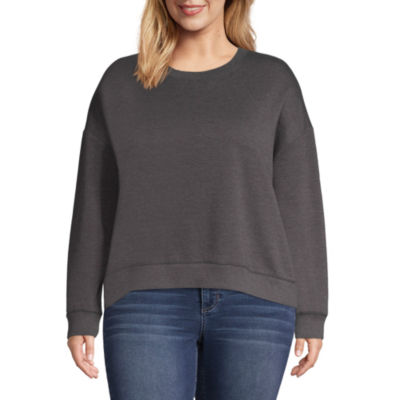 Arizona Womens Crew Neck Long Sleeve Sweatshirt Juniors Plus