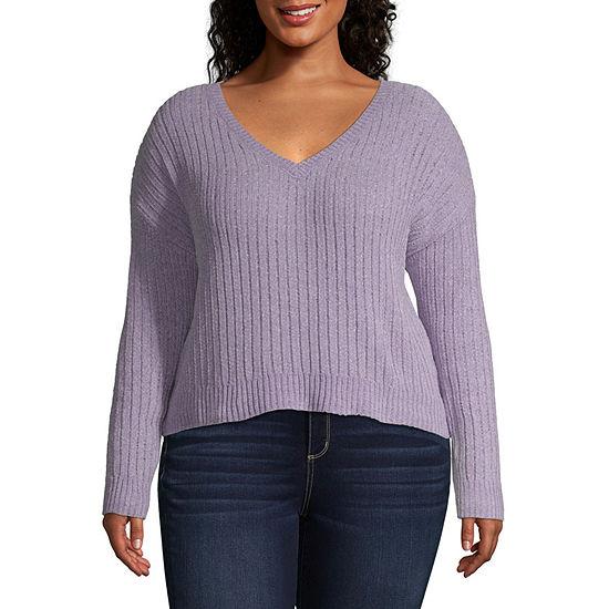Arizona V- Neck Long Sleeve Pullover Sweater- Juniors