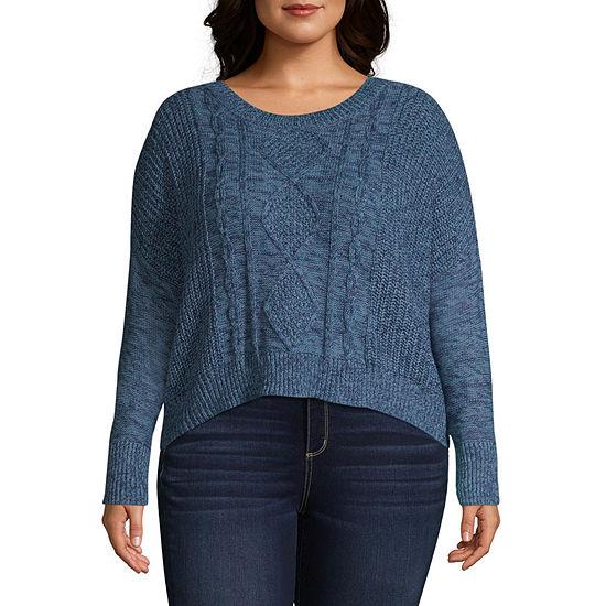 Arizona Womens Crew Neck Long Sleeve Pullover Sweater-Juniors Plus