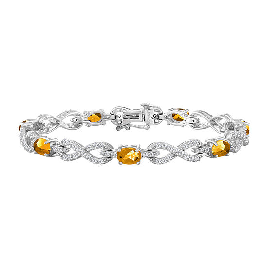 Genuine Yellow Citrine Sterling Silver 7.5 Inch Tennis Bracelet