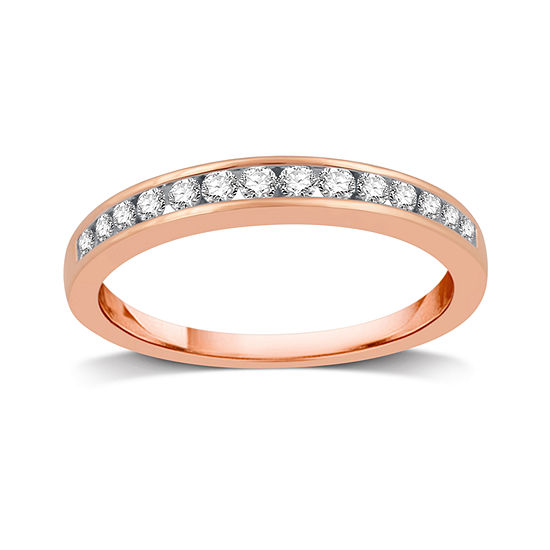 3MM 1/4 CT. T.W. Genuine White Diamond 10K Rose Gold Wedding Band
