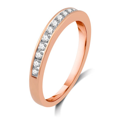 Womens 3MM 1/4 CT. T.W. Genuines White Diamond 10K Rose Gold Wedding Band