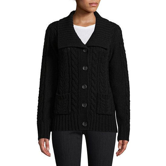 St. John's Bay Womens U Neck Long Sleeve Button Cardigan