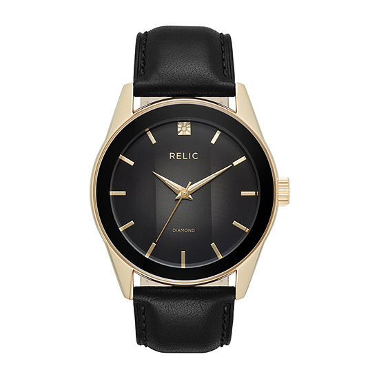 Relic By Fossil Mens Black Leather Strap Watch-Zr77295