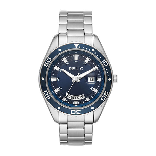 Relic By Fossil Mens Silver Tone Stainless Steel Bracelet Watch-Zr12559
