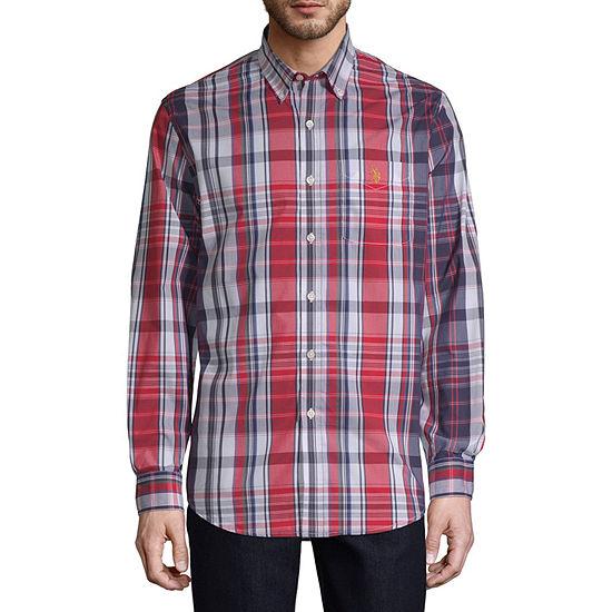 U.S. Polo Assn. Stretch Mens Long Sleeve Plaid Button-Down Shirt