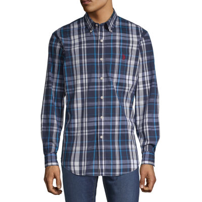 U.S. Polo Assn. Stretch Mens Long Sleeve Plaid Button-Front Shirt