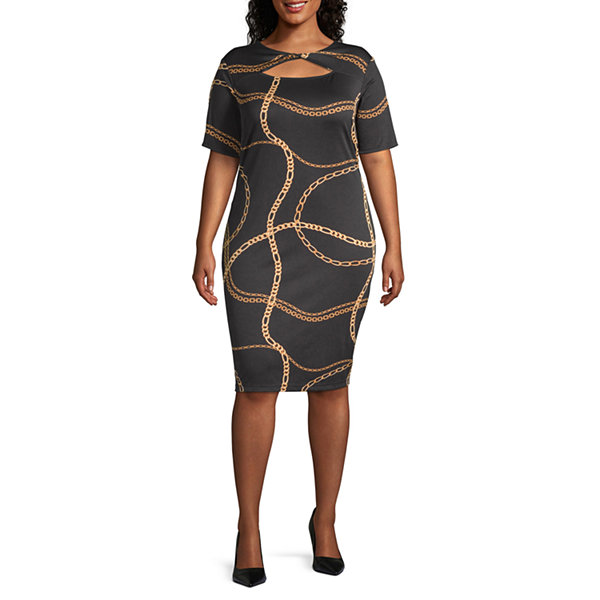 Bold Elements 3/4 Sleeve Twist Neck Bodycon Dress -Plus